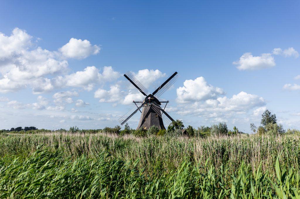 Poldermolen in Kinderdijk, Nederland
